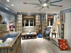 nurseries - blue red compass white rug plaid  Divine Design - Nautical baby boy nursery