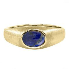 East-West Oval Cut Blue Lapis Lazuli Yellow Gold Pinky Ring For Men by gemologica on Etsy
