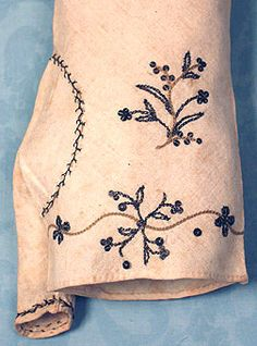 Embroidered cotton muslin mitts. Long with ties at elbow. 1790-1800 Augusta Auctions