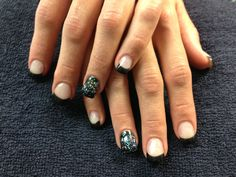 Tanya's nails. Black tips with sparkling gel nail art.