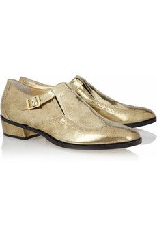 """Jimmy Chooburnished gold leather """"loafers"""". Borrowed from the boys."""