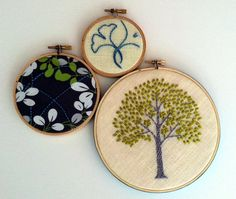 Tree Leaves Ginkgo hand embroidered home decor hoop art wall decoration citrine green by mlmxoxo
