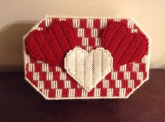 Plastic Canvas Heart Trinket Box by were00 on Etsy, $15.00