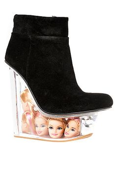 Interesting to look at, though I personally wouldn't wear them :P Jeffrey Campbell Shoe Icy in Black Suede &Doll Heads