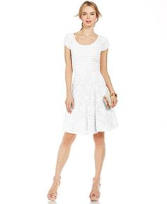 NY Collection Short-Sleeve Mixed-Lace Flare Dress