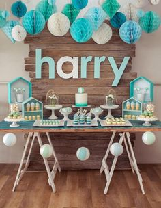 Sweet Table from a Rustic Beach Ball Birthday Party via Kara's Party Ideas! Décoration Baby Shower, Cadeau Baby Shower, Shower Party, Baby Shower Parties, Baby Shower Themes, Baby Shower Decorations, Shower Games, Baby Showers, Shower Ideas