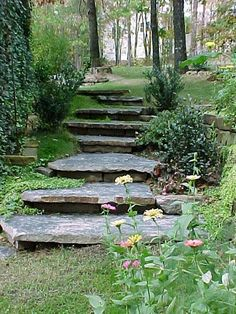 Steps in your garden. Use Natural Stone To Create A Workable Work Of Art.
