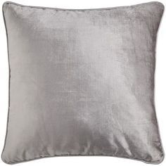 """Velvet Pillow - Silver @ Pier 1 •Filling: Feathers •Cover: Cotton, rayon •Color: Silver •20""""W x 20""""H •Spot clean only $24"""
