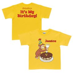 Curious George It's My Birthday Yellow T-Shirt from PBS Kids Shop. I LOVE THIS!