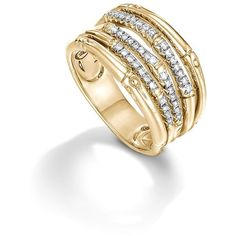 John Hardy Bamboo 18K Yellow Gold Diamond Pave Wide Ring (26 040 ZAR) ❤ liked on Polyvore featuring jewelry, rings, gold rings, 18k gold ring, 18 karat gold jewelry, pave diamond ring and 18k ring