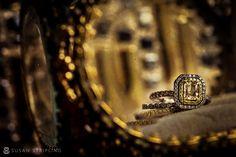 Yellow diamond halo wedding ring