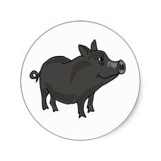 Pot Bellied Pig Cartoon Sticker #pigs #pets #potbellied #funny #art #original #stickers #zazzle #gifts #petspower