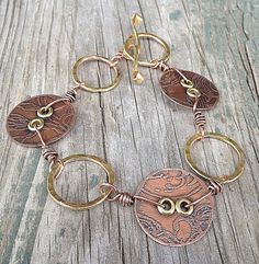 Copper Button and Brass Mixed Metal Bracelet by SilverRoseDesigns/Holly Westfall