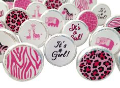 Pink Sweet Safari Jungle #Baby #Girl #Shower Favors - 324 Stickers for Hershey Kisses and Other Small Candies