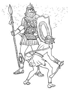 David And Goliath Fight Coloring Page From King Category Select 28148 Printable Crafts Of Cartoons Nature Animals Bible Many More