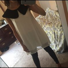 Black and white Peter Pan neck tunic Worn once comment with questions below Sabo Skirt Dresses Mini