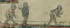 Monkeys bowling. MS. B. 11.22. (Flanders, c. 1300). Cambridge, Trinity College,