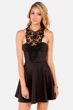 What a Crush Black Lace Halter Dress at LuLus.com!