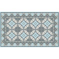 tapis vinyl barcelona light blue gray 60 x 97 cm - Tapis Vinyl Cuisine