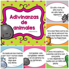 Adivinanzas de animales Spanish Teaching Resources, English Activities, Spanish Language Learning, Spanish Lessons, Classroom Activities, Learning Activities, Kids Learning, Alternative Education, Spanish Teacher