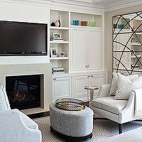 Jennifer Worts Design - bedrooms - sitting area, TV over fireplace, built ins, tv built ins, tv built in cabinets, tv storage, bedroom sitti...