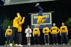 The Alumni Cheerleaders are the ultimate super fans. Legendary alumnus Dick Kimball still backflips at the Alumni Association's Go Blue Tailgate.  Oh, and he's in his seventies.