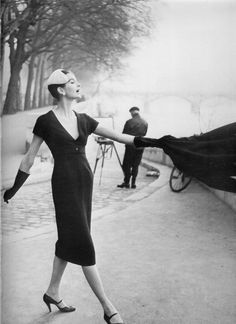 Anne Sainte Marie in Dior, Spring 1955. Photographed by  Henry Clarke in Paris.