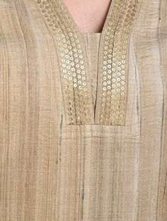 Beige embroidered tussar short kurta love in paris tie midi dress Silk Kurti Designs, Salwar Neck Designs, Churidar Designs, Neck Designs For Suits, Kurta Neck Design, Sleeves Designs For Dresses, Neckline Designs, Dress Neck Designs, Stylish Dress Designs