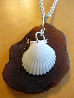 Hawaiian Brown Beach Glass with Waimea Bay Scallop Shell Overlay necklace