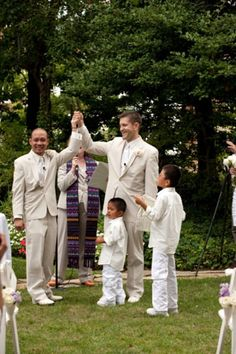 2 grooms and their 2 adopted sons, Washington DC gay wedding, Meridian House