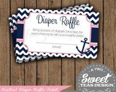 Diaper Raffle Tickets Nautical Baby Shower Invitation Chevron Pink Navy Girly Digital Printable DIY
