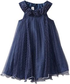 Bonnie Jean Little Girls' Dot Crystal Pleat Dress, Blue, 5 - Click image twice for more info - See a larger selection of girls denim clothing at http://girlsdressgallery.com/product-category/girls-denim-dress/ - girls.little girls, girls clothing, kids, kids  fashion, toddler,child,children,gift ideas,holidays,christmas