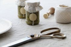 Self-made pesto wrapped with seal stamp on glasses – www.monogramsandsignets.com How To Make Pesto, Wax Seals, Package Design, Monograms, Brand Identity, Stamps, Bee, Yard, Marketing