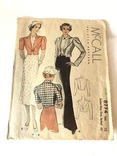 1930s Style, 1930s Fashion, Jacket Pattern, Back In The Day, Print And Cut, Vintage Sewing Patterns, Dressmaking, Print Patterns, Vintage Items