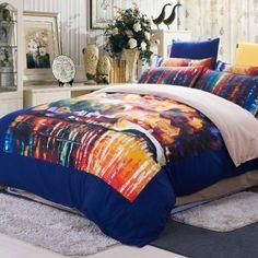 Designer Kids Oil Painting Bedding Set Warm Sanding Bedding Set For Winter Fashion Modern Bed Set