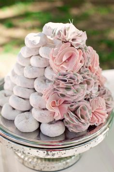 Donut cake with fabric flowers