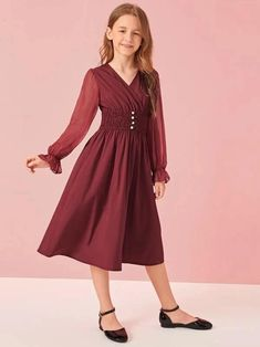 To find out about the Girls Chiffon Sleeve Buttoned Shirred Waist Dress at SHEIN, part of our latest Girls Dresses ready to shop online today! Girls Fashion Clothes, Tween Fashion, Teen Fashion Outfits, Girl Fashion, Girl Outfits, Fashion Dresses, Box Pleated Dress, Belted Dress, Dresses Kids Girl