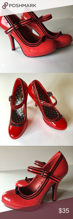 Pinup Couture Secret-15 Red Mary Jane Pumps NWOT Here is a sweet pair of red Mary Jane platform pumps with black contrasting trim and bow by Pinup Couture. 4 1/2 inch heels. Man made materials. NWOT, tried on but never worn. Please let me know if you have any questions. Pinup Couture Shoes Heels