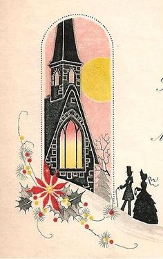 Silhouette of Family Church Beautiful Vintage Christmas Art Deco Greeting