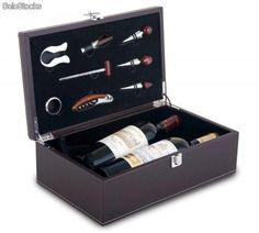 Set vino estuche para dos botellas de vino con ocho accesorios