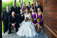 Perfect wedding bouquets in deep Purples, yellows and fresh citrus of lemons & limes highlighted this vineyard set wedding of Katie & Jeff. Florals by Jenny Thomasson AIFD CFD of Stems Florist www.stems4weddings.com