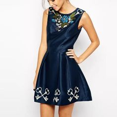 Embroidery Beading Decorated Dress