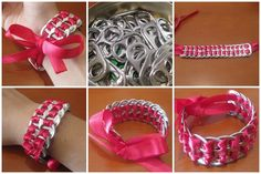 How to make amazing soda can pop tab bracelet step by step DIY tutorial instructions