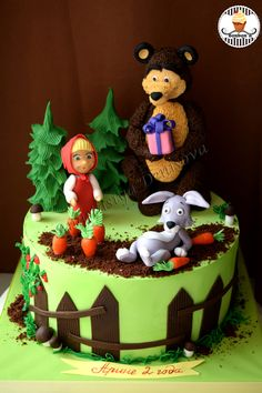 Masha Et Mishka, Marsha And The Bear, Small Birthday Cakes, Birthday Wishes And Images, Ballerina Cakes, Bear Party, Bear Cakes, Cat Birthday, Fancy Cakes