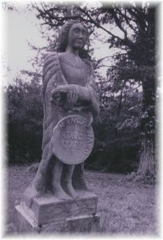 Statue of Nancy Ward placed on a white womans grave in Arnwine Cemetery near Liberty Hill, TN