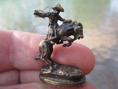 Dollhouse Miniatures Bronze Remington Bronco Buster Horse Cowboy Statue Replica