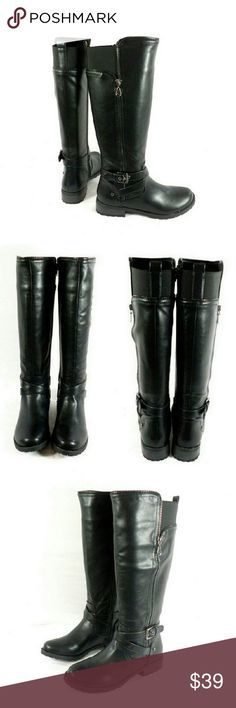 "G by Guess Halsey Tall Shaft Riding Boots Thanks for checking out my closet. I take all my own pics. The boots are authentic and new in box. Boots have man made upper with 1"" heel, 16"" shaft height, and 15"" cal opening circumference. G by Guess Shoes Heeled Boots"
