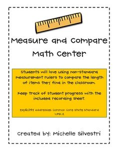 Non-Standard Measure and Compare Math For Kids, Fun Math, Math Stations, Math Centers, Math Resources, Math Activities, Teaching Measurement, Nonstandard Measurement, School Week