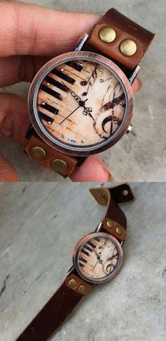 Vintage Handmade Piano Leather Watch for my sister ! #piano #leather #vintage #handmade #cute