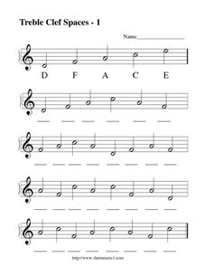 This Treble Clef Spaces - 1 Lesson Plan is suitable for - Grade. In this treble clef spaces worksheet, students read the sheet music and identify the letter names of the notes that are missing as they fill in 30 blank spaces. Music Education Lessons, Elementary Music Lessons, Vocal Lessons, Easy Violin Sheet Music, Music Theory Piano, Piano Music, Music Math, Music Classroom, Piano Noten